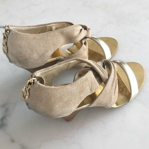 MICHAEL KORS Suede Shoes with Gold Straps